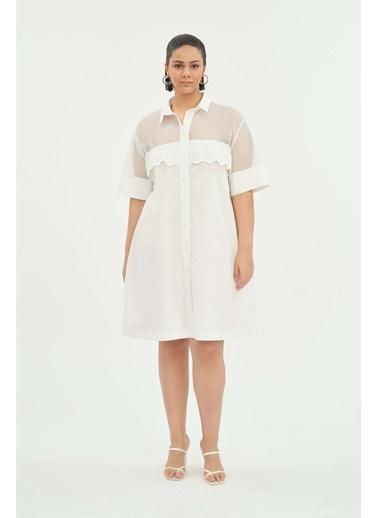 Luokk Hannah Brode Detaylı Şık Bol Kesim Gömlek Elbise Beyaz Beyaz
